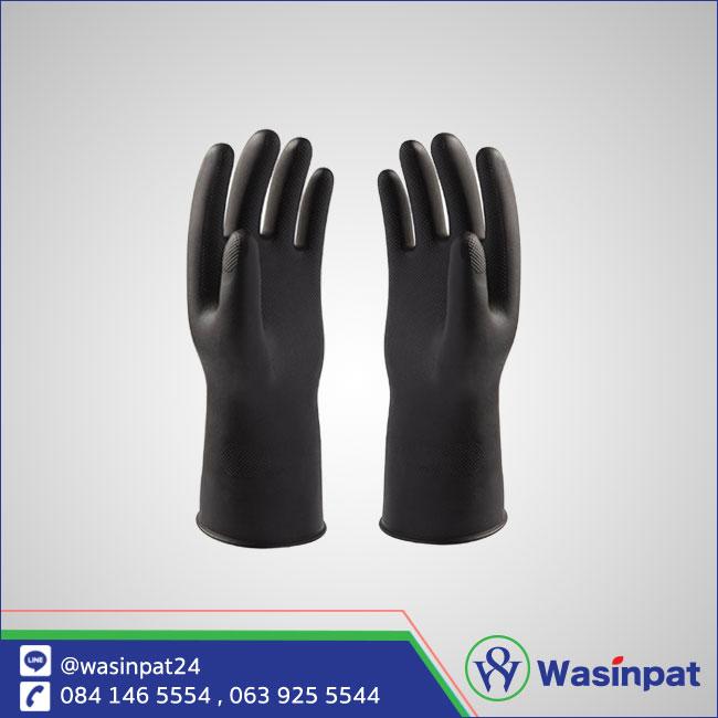 ถุงมือยาง สีดำ