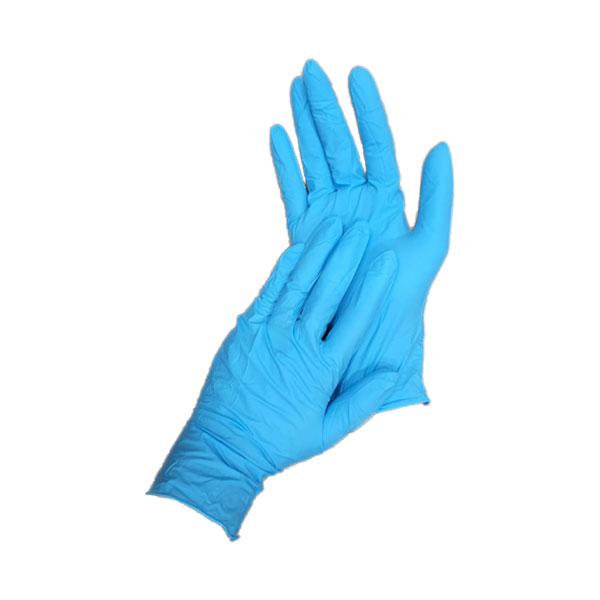 ถุงมือยางไนไตร สีฟ้า